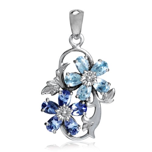 Genuine Blue Topaz & Tanzanite 925 Sterling Silver Flower & Leaf ()