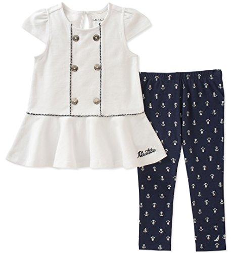 Nautica Toddler Girls' Leggings Set, White/Navy, 3T