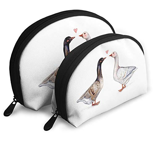 Two Pilgrim Geese Cottage Nature Cabin Bird Shell Portable Bags Clutch Pouch Cosmetic Makeup Bag Pouch 2Pcs