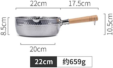 JIAJU Edelstahl Kleine Milch Topf einzigen Holz Griff Pan Induktionskocher Universal 20cm / 22cm, 22cm