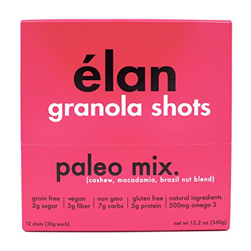 ELAN Low Sugar Paleo Granola - Cashew, Macadamia, Brazil Nuts, Flax & Coconut Blend; Low Carb Trail Mix & Low Glycemic Snacks, 12 Pack (1.1 Ounce Bars)
