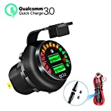 [Upgraded Version] YONHAN Quick Charge 3.0 Dual USB Car Charger with Colored Voltmeter, 36W 12V USB Outlet Fast Charger for Car Boat Marine ATV Truck and More