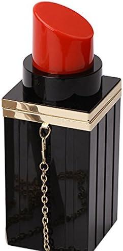 TOOGOO Women Acrylic Black+red Lipstick Shape Evening Bags Purses Clutch Vintage Banquet Handbag