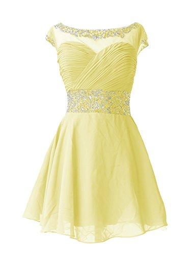 Dresstells®Vestido De Mujer Corto De Gasa Con Cuentas Mangas Cortas Amarillo