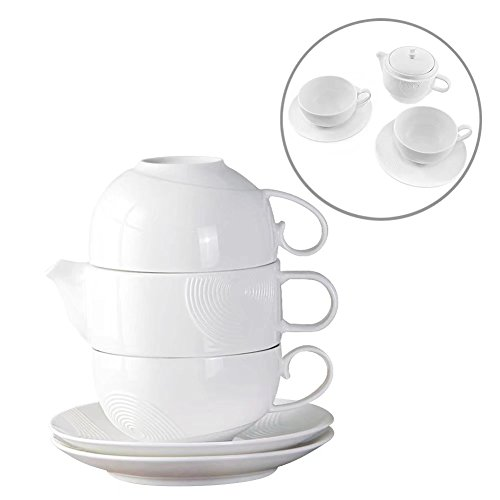 2 Cups 1 Saucer (Tea Service Set for 2, 77L Elegant Design Ceramic Tea Set for 2, Includes Tea Pot (12 OZ) with Stainless Steel Tea Infuser, 2 Tea Cups (6 OZ) and 2 Saucers - Couples and Anniversary Gift Set, White)