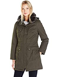 Womens Bonded Parka Jacket With Adjustable Waist Removable Faux Fur Collar