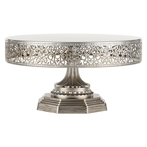Anniversary Signature Plate (Victoria Antique Silver 12 Inch Metal Cake Stand, Round Wedding Birthday Party Dessert Cupcake Pedestal Display Plate)