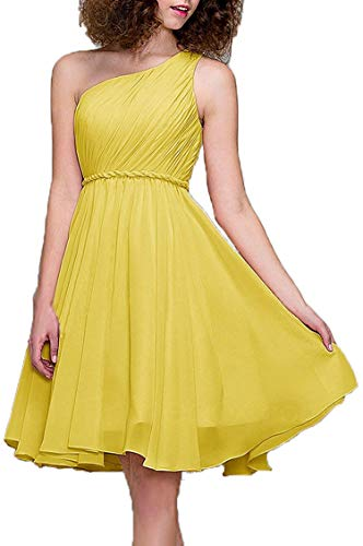 - From Zero Cocktail Dress one-Shoulder Pleated Chiffon A-line Skirt Dignified Bridesmaid Dress Short,4,Canary