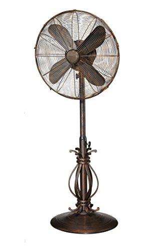 Designer Aire 18-Inch Scrolls Standing Pedestal Fan, Copper