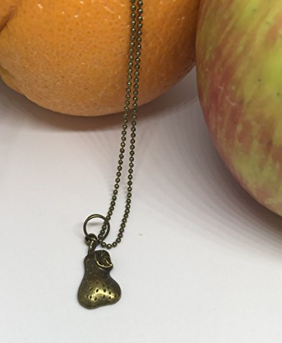 Bronze Pear Charm necklace on Antique Brass Ball chain - Pear Necklace - Fruit Jewelry