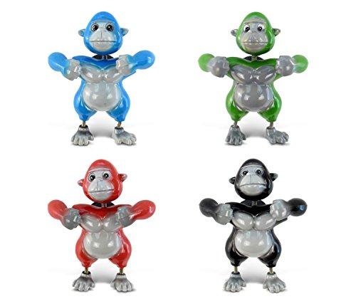 Gorilla Magnet - Puzzled Gorilla Refrigerator 3D Bobble Head Magnet - Assorted Colors, Set of 4 - Unique Affordable Gift and Souvenir - Item #7903
