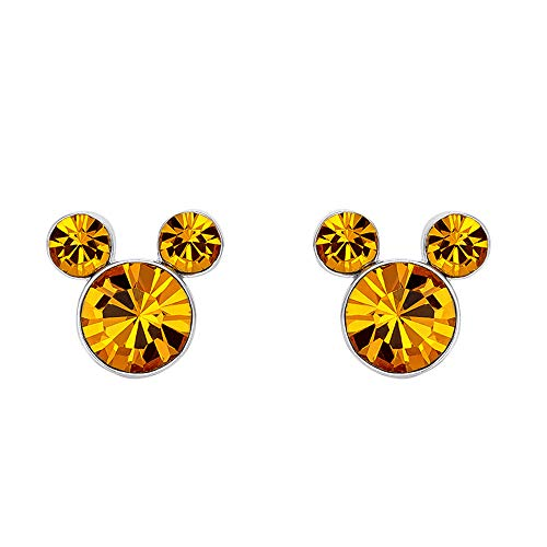 Disney Mickey Mouse Birthstone Silver Plated Stud Earrings, November Topaz Brown Crystal