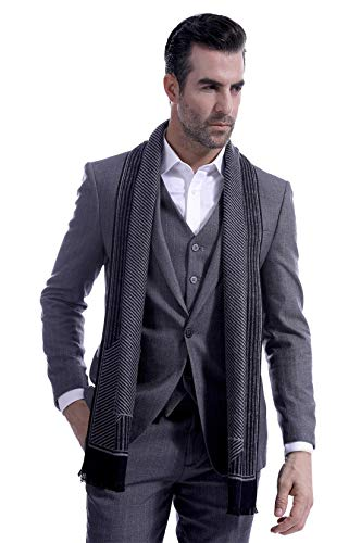 Men Business Striped Warm Scarves Long Classic Pattern Cashmere-like Scarf Stylish Casual Men Neckerchief Black by Panegy