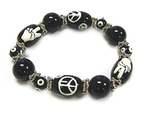 Black Peace Sign Bracelet - Linpeng BR-1370 3D Hand Painted Glass Beads Stretch Bracelet in Bag Love & Peace