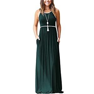 WEACZZY Women's Sleeveless Loose Plain Vacation Days Maxi Dresses Casual Long Dresses with Pockets