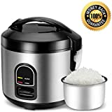 Electric Rice Cooker Food Steamer - Small 5 Cup (Uncooked) Mini Rice Maker Steamer for Grains and Hot Cereal with One Touch Control and Automatic Keep Warm Function (5)