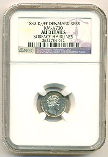 1842 DK Denmark - Christian VIII Silver 3 RBS About Uncirculated Details - Denmark Silver