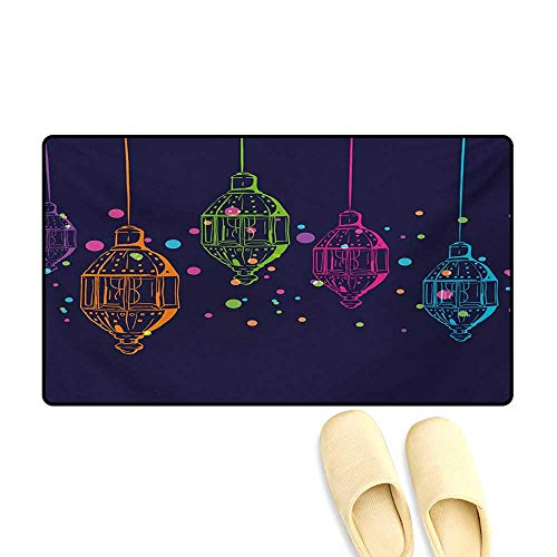Doormat,Candles in Night Sketch in with Dots Arabian Motifs,Bath Mat for Tub Bathroom Mat,Dark Purple Multicolor,32