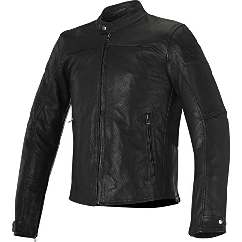 Leather Jackets Alpine (Alpinestars Men's Brera Airflow Black Leather Jacket, 48)