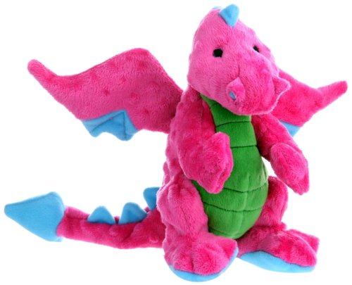 goDog Dragon With Chew Guard Technology Tough Plush Dog Toy, Pink, (Pink Dog Puppy Toy)