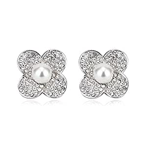 ZMC Women's Rhodium Plated Alloy Imitation Pearl and Austrian Crystals Stud Earrings, Silver/White