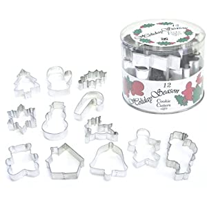 R&M International 1869 Holiday Season Classics Cookie Cutters in Tub, Assorted Designs, 12-Piece Set