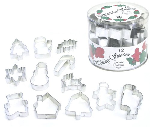 R&M International 1869 Holiday Season Classics Cookie Cutters in Tub, Assorted Designs, 12-Piece Set (Cookie Leaf Copper Cutter)