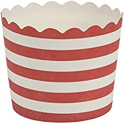 Blue Sky 1244 20 Count Scalloped Stripe Cupcake Baking Cups, Small, Red/White
