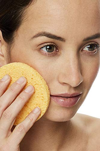 Natural compressed facial sponges for Makeup Removal Facials & Gentle Exfoliation 100% Biodegradable Cellulose with BONUS FREE Beauty Blender Makeup Applicator inside - USA sourced raw materials