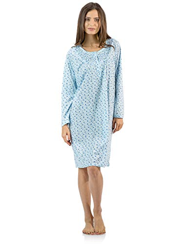 Knee Length Chemise - Casual Nights Women's Cotton Blend Long Sleeve Nightgown - Floral Pintucked Blue - 4X