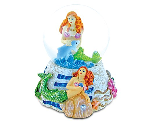 Puzzled COTA Global Mermaid Snow Globe Dome Resin Fantasy Underwater Collection Ocean Life Nautical Aquatic Marine Room Decor Table Top Accent Size: 3.55 x 3.75 inches Unique Gift Craft Decor (Little Mermaid Snow Globe Under The Sea)