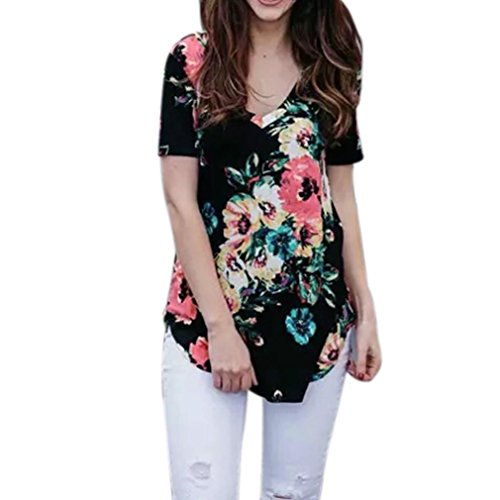 Wintialy Women Summer Tees Casual Print Floral V-Neck T-Shirt Tops Blouse