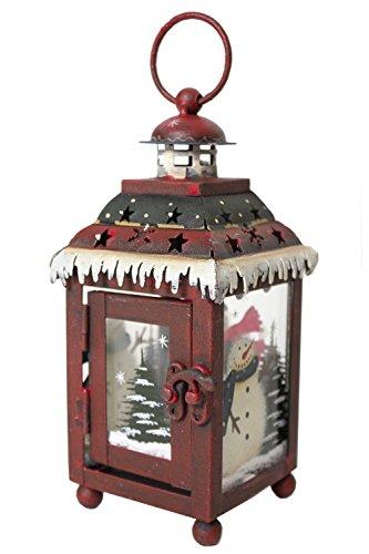 Americana Snowman (Snowman Metal & Glass Decorative Lantern)