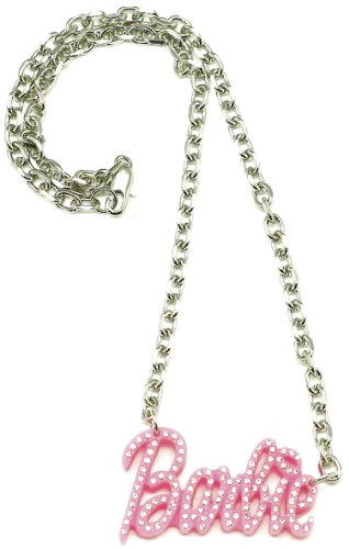 Plastic Chain Link Necklace - Barbie Small Iced Out Pendant Pink Plastic Metal Chain Link Necklace