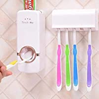 Plastic Automatic Hands Free Toothpaste Dispenser Squeezer Wall Mounted, Wall Hanging with 5 Hole Brush Holder Set