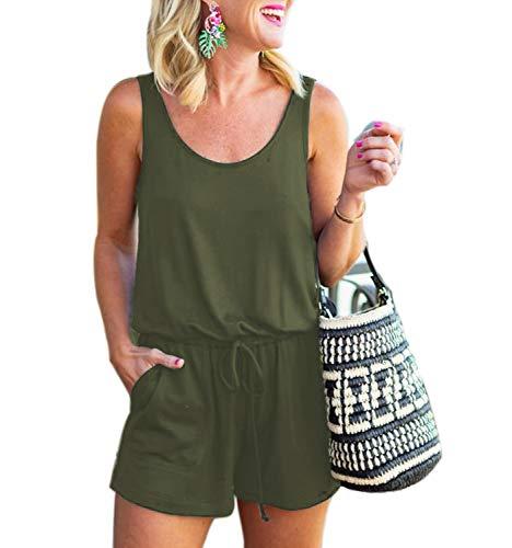 Mingriya Women's Summer Jumpsuit Casual Loose Sleeveless Jumpsuit Rompers with Pockets Elastic Waist Playsuit (ArmyGreen, Large)