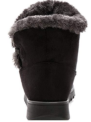Side Outdoor Boots Fur Comfort Faux Snow Snow Booties Lined Women Boots Short Warm Shoes Flats Ladies Boots Size Zip Winter Heel Ankle Black SxCqxUP