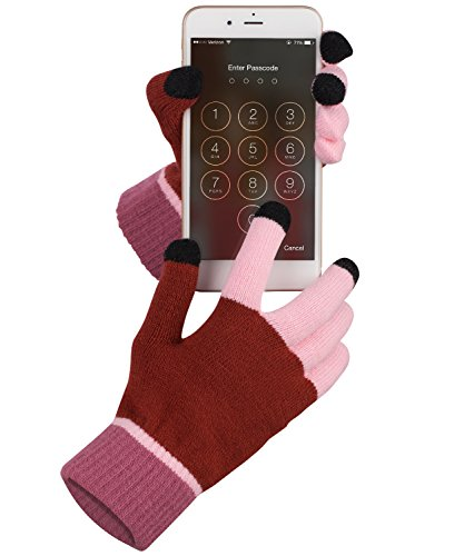 Price comparison product image Touch Screen Gloves,  Fosmon Unisex Winter Touch Scren Gloves [Three Conductive Fingertips] for iPhone,  iPad,  Samsung,  LG,  Nokia Smartphones,  Tablets & Smartwatch (Red / Pink)