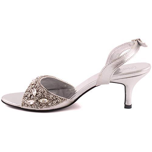Heel Sandali Cinturino 8 Borchie Open Shimmer Unze Ambel Donna Kitten Slip Buckle Taglia 3 Argento Closure On Alla Caviglia Toe Con Uk FtwI0qx