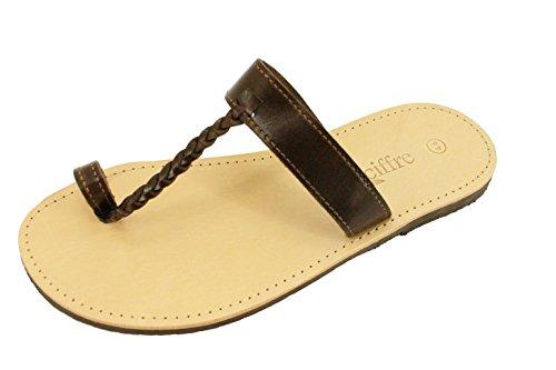 Hecho a mano superior de tiras de cuero genuino de la sandalia de Grecia Creta en Negro Beis Marron Tamaño 36-47 Marron Beis