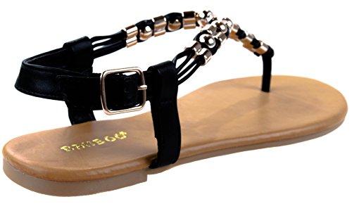 Zapatos De Bambú Para Mujer Sundance-13s Slingback Hebilla De Cierre Con Tachuelas Decorativas En T-strap Negro