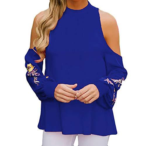 Mode paule Hors Blouse Manches Bleu Tops Bretelles Shirt DEELIN Neck Longues Casual T Lache sans Femmes Brod O 1gw0xYp5q