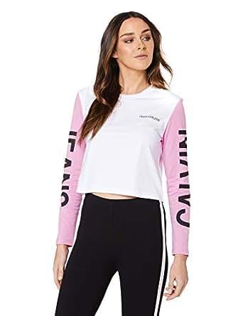Calvin Klein Jeans Women's Institutional Back Logo Blocking Crop T Shirt, Bright White/Begonia Pink/Black, S
