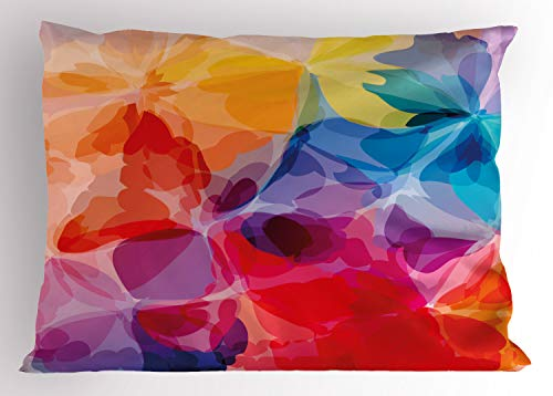 Red King Salmon - Ambesonne Floral Pillow Sham, Vibrant Colors Abstract Creative Watercolor Style Flower Pattern Design, Decorative Standard King Size Printed Pillowcase, 36