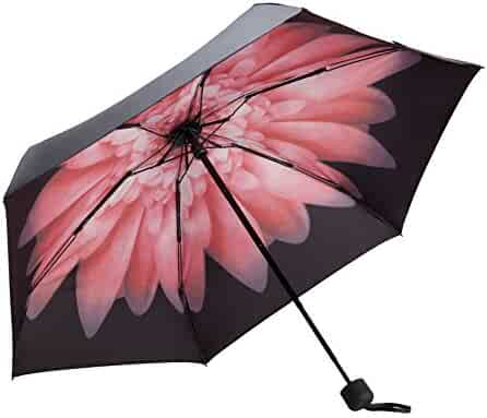 Fidus UltralightMiniCompactTravelUmbrella–WindproofPortableParasolSun&RainOutdoorGolfUmbrellaWith95%UVProtectionforWomenMenKids-pink daisy