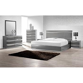 Modern Barcelona 4 Piece Bedroom Set California King Size Bed Mirror Rhinestones On