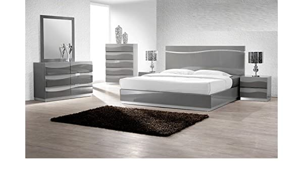 Amazon Com Modern Leon 4 Piece Bedroom Set California King Size Bed
