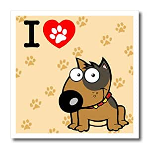 ht_63102_1 Edmond Hogge Jr Dogs - I Love Dogs With Tan Background - Iron on Heat Transfers - 8x8 Iron on Heat Transfer for White Material