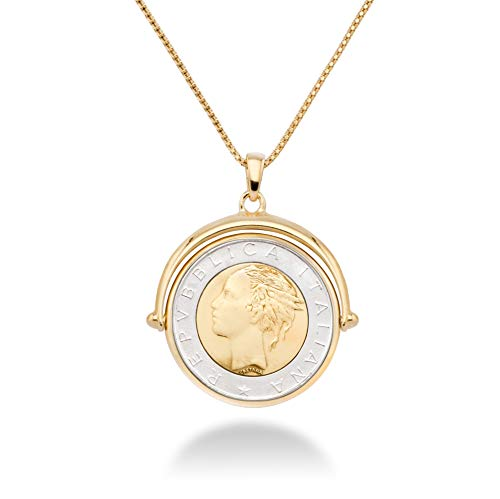 MiaBella 18K Gold Over Sterling Silver Italian Genuine 500 Lira Two-Tone Flip Coin Pendant Necklace for Women,18, 20 Inch Chain, 925 Made in Italy (18)