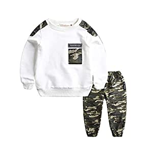 1-11Years,SO-buts Teen Kids Baby Boys Autumn Winter Letter Tracksuit Tops Sweatshirt Camouflage Pants 2PCS Outfits Set
